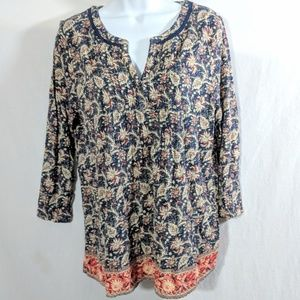Lucky Brand Navy Floral Tunic Top